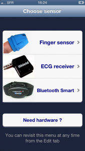 ithlete v2.3 Sensor select screen